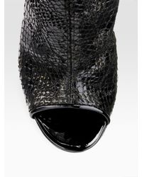 Jimmy Choo | Black Fantasy Snake-embossed Open-toe Ankle Boots | Lyst