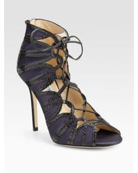 Jimmy Choo - Blue Feline Elaphe-trim Satin Lace-up Sandals - Lyst