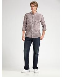 Lacoste | Gray L!ve Slim-fit Plaid Military Shirt for Men | Lyst