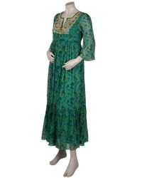 Leaves Of Grass - Green Floral Printed Maxi Dress - Lyst