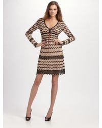 M Missoni | Natural Pointelle Zig-zag Tunic Dress | Lyst