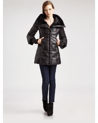 Mackage - Black Magda Down Puffer with Rabbit Fur Collar - Lyst