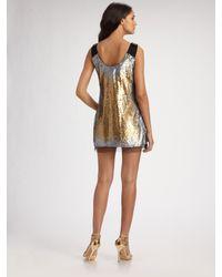 Badgley Mischka - Metallic Ombré Sequin Mini Tank Dress - Lyst