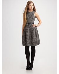 MICHAEL Michael Kors | Gray Belted Tweed Dress | Lyst