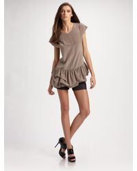 Richard Chai Love | Brown Drop-waist Ruffle Tunic | Lyst