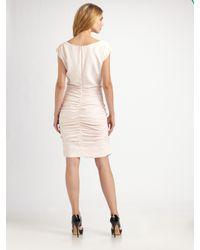 Shoshanna | Pink Ruched Silk Shift Dress | Lyst