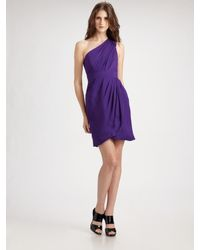 Shoshanna | Purple Ruched One Shoulder Dress | Lyst