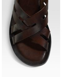 To Boot | Brown Burnished Leather Sandals for Men | Lyst