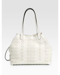 Valentino - White Laser Cut Cuoio Leather Tote - Lyst