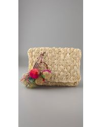 Zimmermann | Natural Straw Clutch with Pom Pom | Lyst