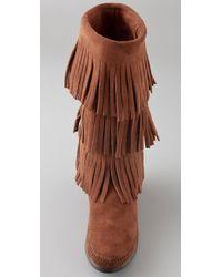 Minnetonka - Brown 3 Layer Fringe Boots - Lyst