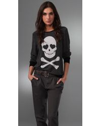 Wildfox - Black Love Bones Baggy Beach Sweatshirt - Lyst