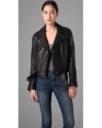 Madewell - Black Sadie Quilted Leather Biker Jacket - Lyst