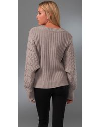 Preen By Thornton Bregazzi - Brown Cable Knit Lambswool Coco Sweater - Lyst