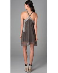 Rozae - Green Chiffon Colorblock Dress - Lyst