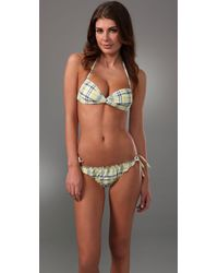 Splendid | Yellow Parker Plaid Twist Bikini Top | Lyst