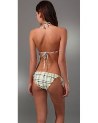 Splendid - Yellow Parker Plaid Twist Bikini Top - Lyst