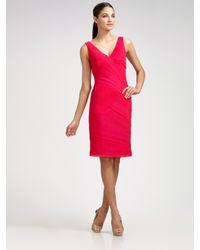 Tadashi Shoji | Pink Shutter-pleated Silk Sheath | Lyst