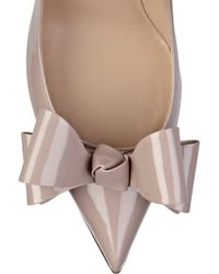 Valentino - Natural Bow-embellished Patent-leather Pumps - Lyst