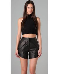 Alexander Wang | Black Cropped Mock Neck Tank | Lyst