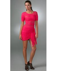 BCBGMAXAZRIA | Red Bcbgmaxazria Runway Banded Mesh Dress | Lyst