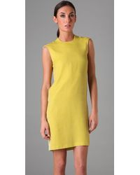 Calvin Klein - Yellow Sleeveless Velvet Dress - Lyst