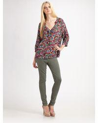 Joie | Multicolor Floral-print Silk Blouse | Lyst