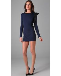 RED Valentino | Blue Long Sleeve Dress with Ruffle Bow Detail | Lyst