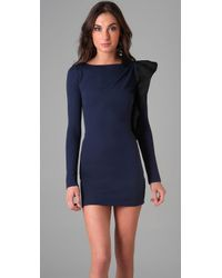 RED Valentino - Blue Long Sleeve Dress with Ruffle Bow Detail - Lyst