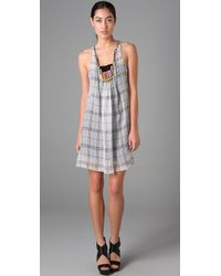 Rozae | Gray Plaid Beaded Dress | Lyst