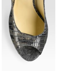 Shoshanna - Gray Pleated V-neck Jersey Dress - Lyst