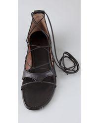 Sigerson Morrison - Black Open Toe Crisscross Flats with Ankle Tie - Lyst