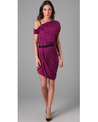 Catherine Malandrino | Purple One Shoulder Dress with Leather Strap and Side Draping | Lyst