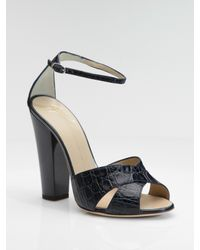 Giuseppe Zanotti | Blue Croc-embossed Leather Sandals | Lyst