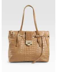 Jimmy Choo | Natural Rhea Stamped Mock Croc Medium Tote | Lyst