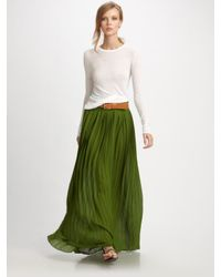 Michael Kors | Green Floor Length Pleated Skirt | Lyst