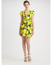 Boutique Moschino | Yellow Lemon Stretch Poplin Dress | Lyst