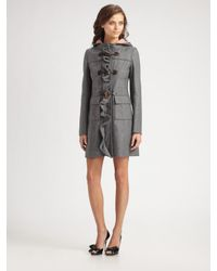 RED Valentino | Gray Wool Bow Toggle Coat | Lyst