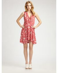 Thakoon | Pink Mini Dot Floral Pleat Front Dress | Lyst