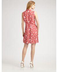 Thakoon - Pink Mini Dot Floral Pleat Front Dress - Lyst