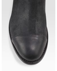 Rag & Bone - Black Abbey Suede & Leather Riding Boots - Lyst