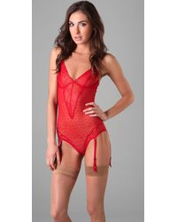 Calvin Klein | Red Kyoto Lace Teddy with Removable Garter | Lyst