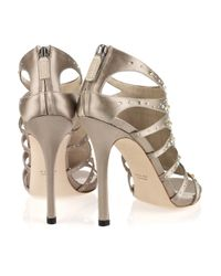 Gucci | Metallic Crystal-embellished Silk-satin Sandals | Lyst