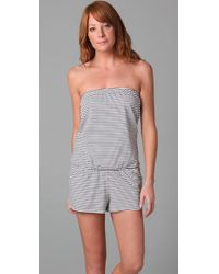 Shoshanna - Gray Black and White Jersey Romper - Lyst