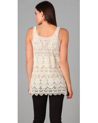Free People - Natural Engineered Crochet Tunic - Lyst