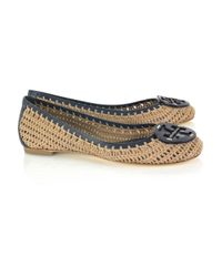 Tory Burch | Brown Rory Leather and Crochet Flats | Lyst
