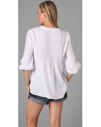 C&C California - White Beach Gauze 3/4 Sleeve Top - Lyst