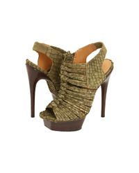 L.A.M.B. - Green Olive Embossed Snake Charisma Platform Sandals - Lyst