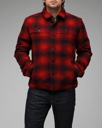 Woolrich | Red Check Shirt Jacket for Men | Lyst