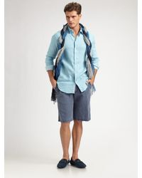 Armani | Blue Linen Shorts for Men | Lyst